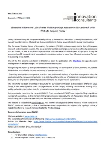 EWGIC, Quésaco ? European Working Group of Innovation Consultant